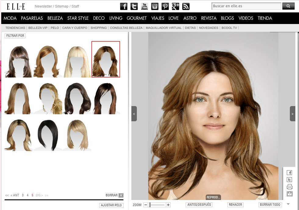 Cambio de color de pelo virtual online